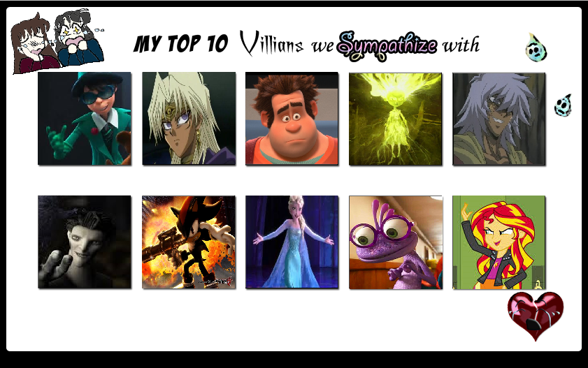 My Top 10 Villians I Sympathize by Nicktoons4ever
