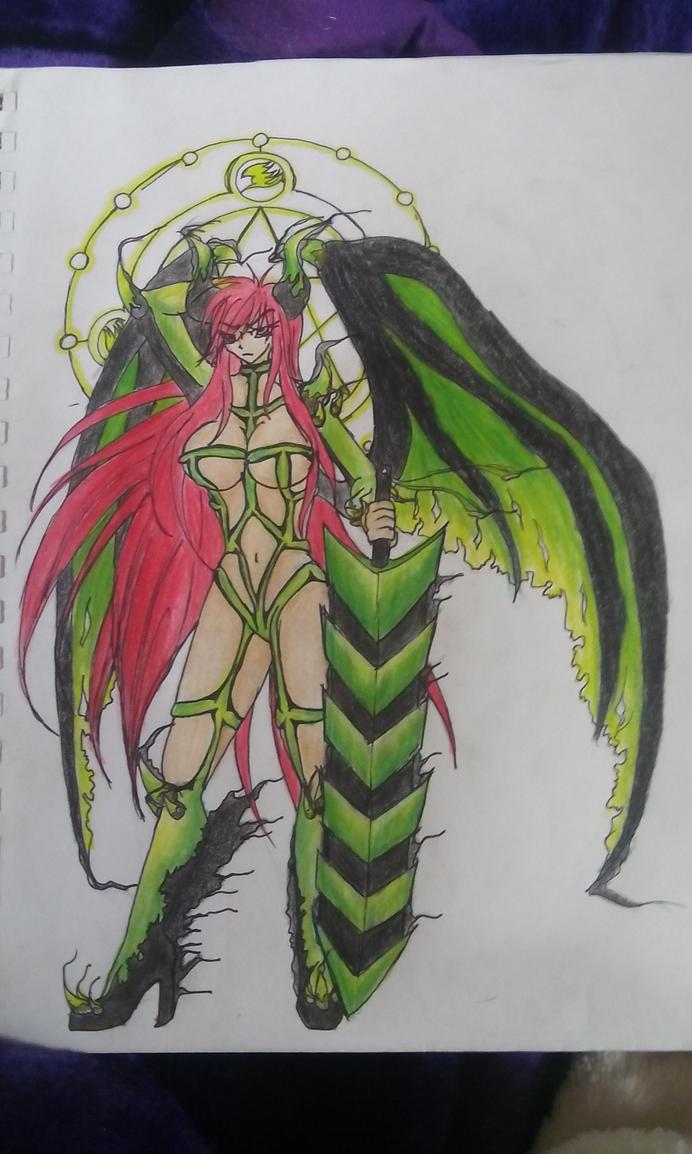 Unholy Emerald Dragon Armor Erza by ShadeOokami