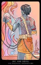 Planescape: Tarot. XV. The Devil by alphyna