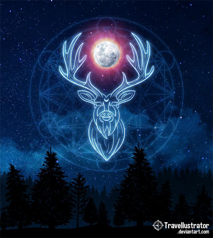 Moon Deer by travellustrator