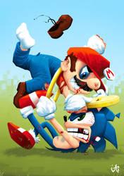 Mario V Sonic by yamenhazem