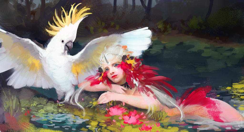 Nymph and cockatoo by SuarezGuillen-art