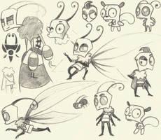 Sum more Invader Zim sketches (school scribbles) 3