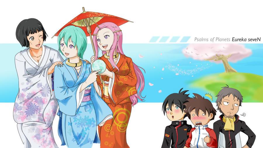 Eureka Seven - Kimono Girls by geoffHeaven