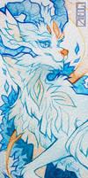 bookmark - blue yellow dragon