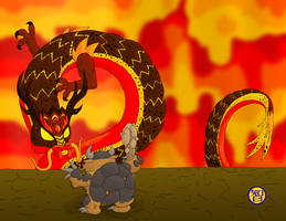 Lava Dragon and Stone Mole by Kairu-Hakubi