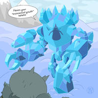 Ice Colossus vs Bucket Knight by Kairu-Hakubi
