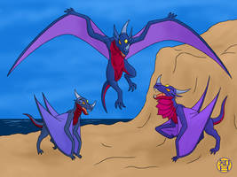 Cliff Dragons by Kairu-Hakubi