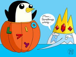 Pumpkin Time - Ice King and Gunther by Kairu-Hakubi