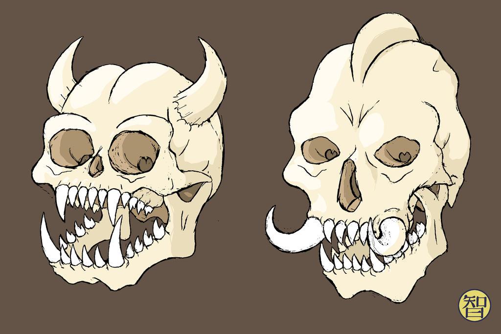 Goblin and Troll Skulls by Kairu-Hakubi