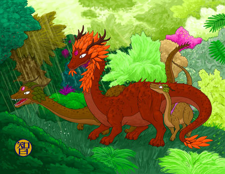 Forest Dragons With Baby