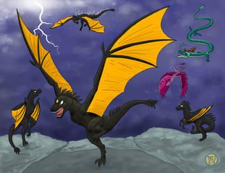Thunder Dragons and others by Kairu-Hakubi