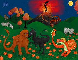 October Dragons and Sheep by Kairu-Hakubi