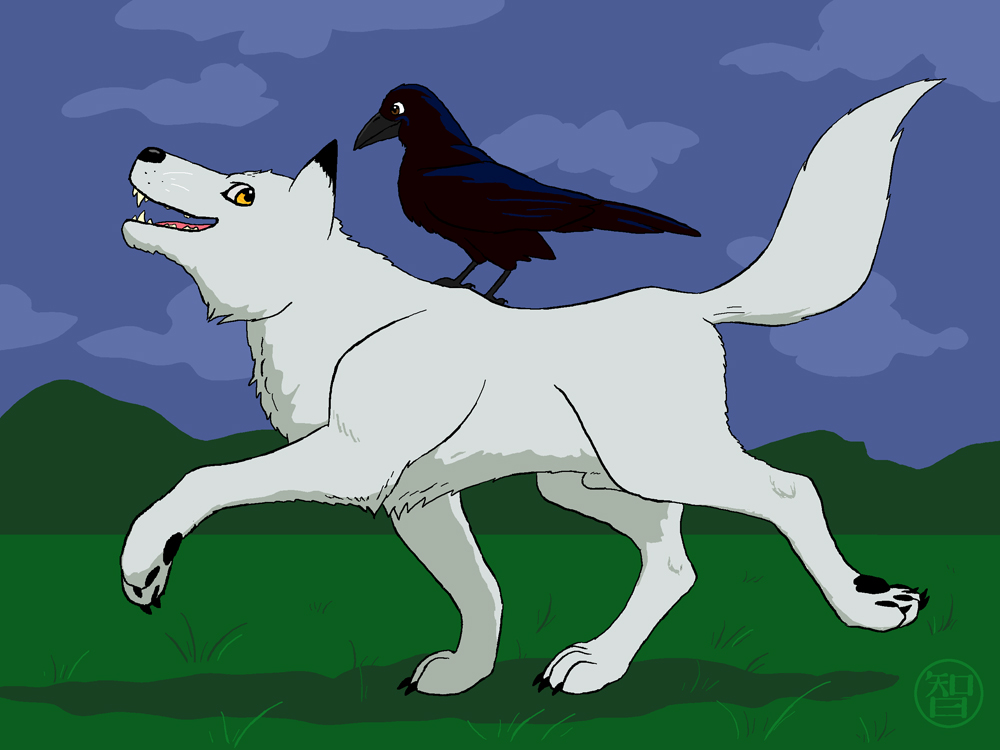 Wolf and Raven by Kairu-Hakubi