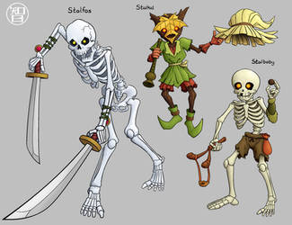 Zeldamon - Stalfos, Stalkid, Stalbaby by Kairu-Hakubi