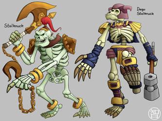 Zeldamon - Stalknuck and Degu Stalknuck by Kairu-Hakubi