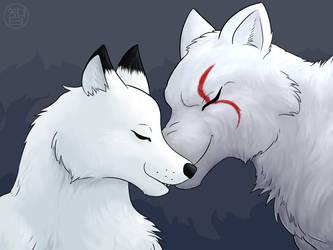 Wolves nuzzling by Kairu-Hakubi