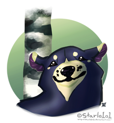 Black bear w birch tree by starlo1o1