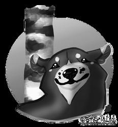 black bear w birch tree (bw) by starlo1o1