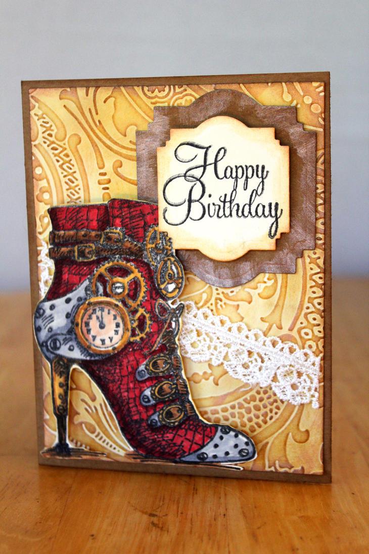 Steampunk High Heel Happy Birthday Card by ACreativeKitten ...