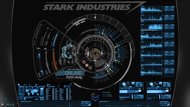 JARVIS + Iron Man : Blue Rainmeter Theme by edreyes