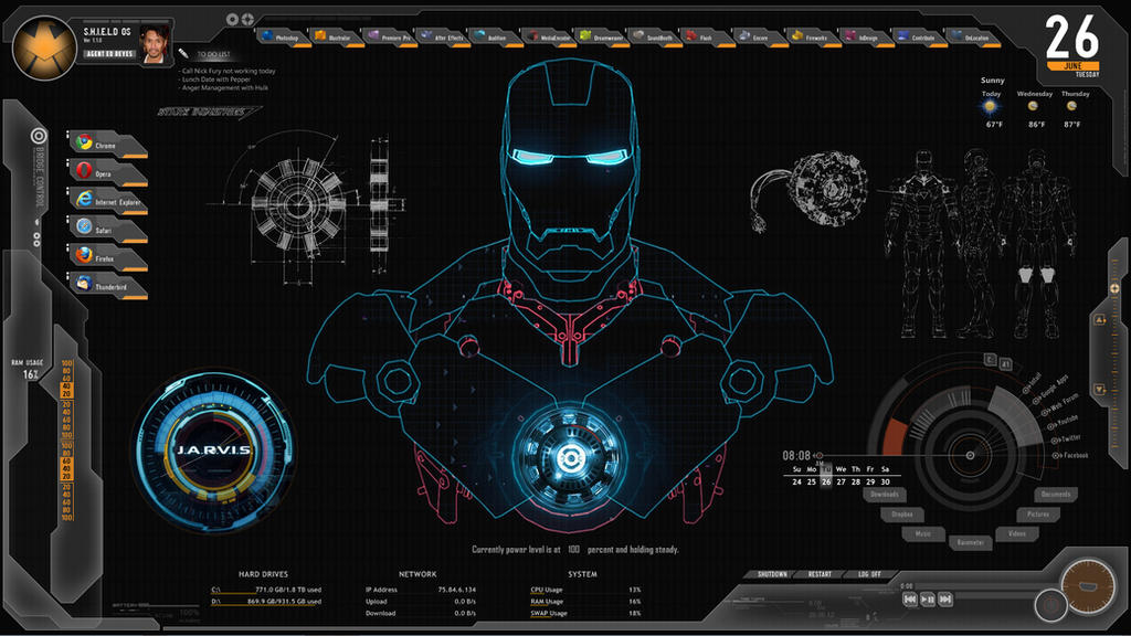 JARVIS + SHIELD Interface : Rainmeter Theme by edreyes on