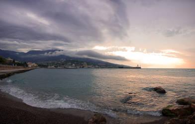 Cloudy sea landscape in Yalta