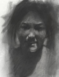 laughing lady in charcoal