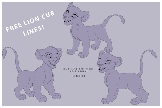 Lion King Cubs -FREE LINEART-