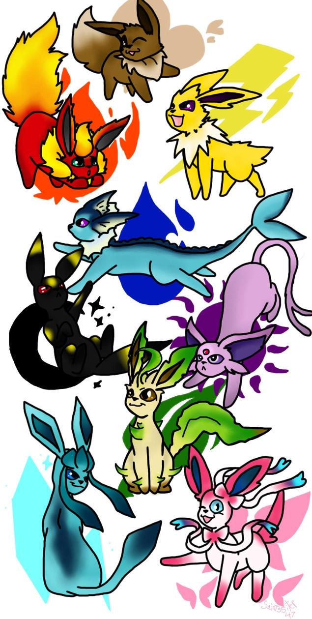 Pokemon Eeveelutions by SaintsSister47