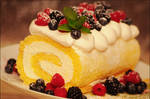 Lemon Roll Cake w/ Berries and Whipped Cream