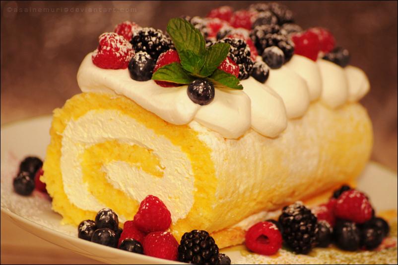 Lemon Roll Cake w/ Berries and Whipped Cream by asainemuri