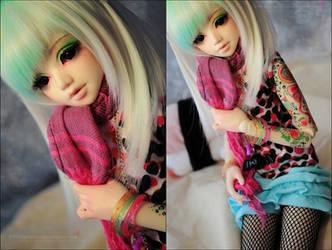 Super cute pink scarf~ by asainemuri