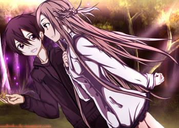 Kirito and Asuna by Ssabinka