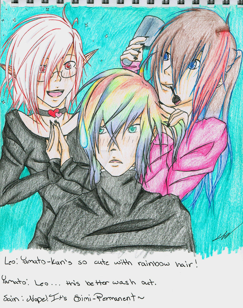 Leo, Yamato, and Sain - Messing with Hair by ChibiAllenX