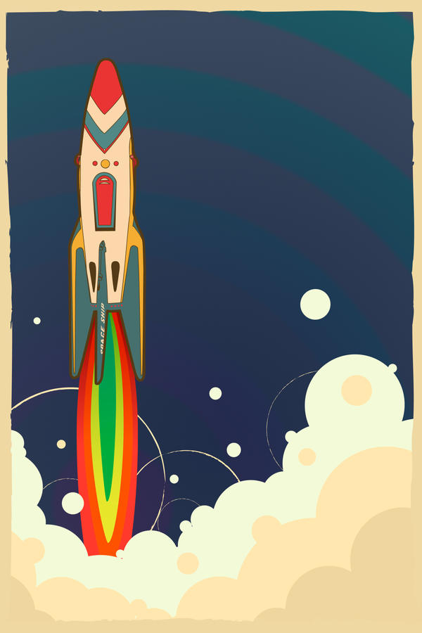 vintage toy- launching rocket by canonto