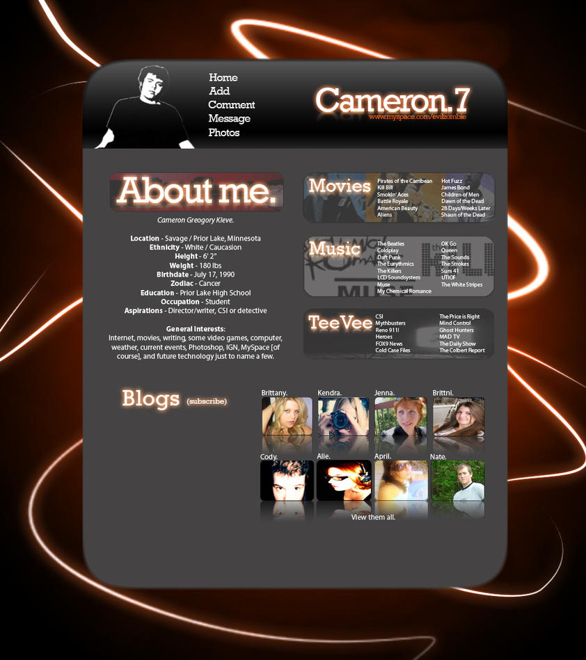 Cameron.7 MySpace Glow Layout by EvilZombie3
