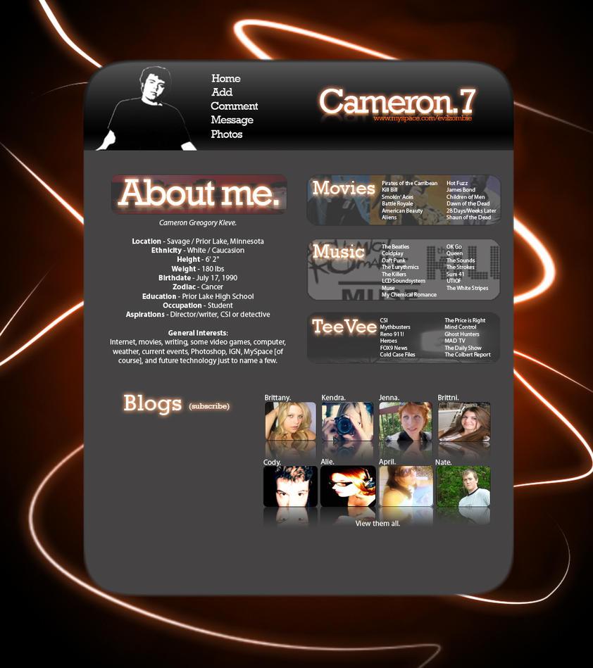 Cameron.7 MySpace Glow Layout by EvilZombie3
