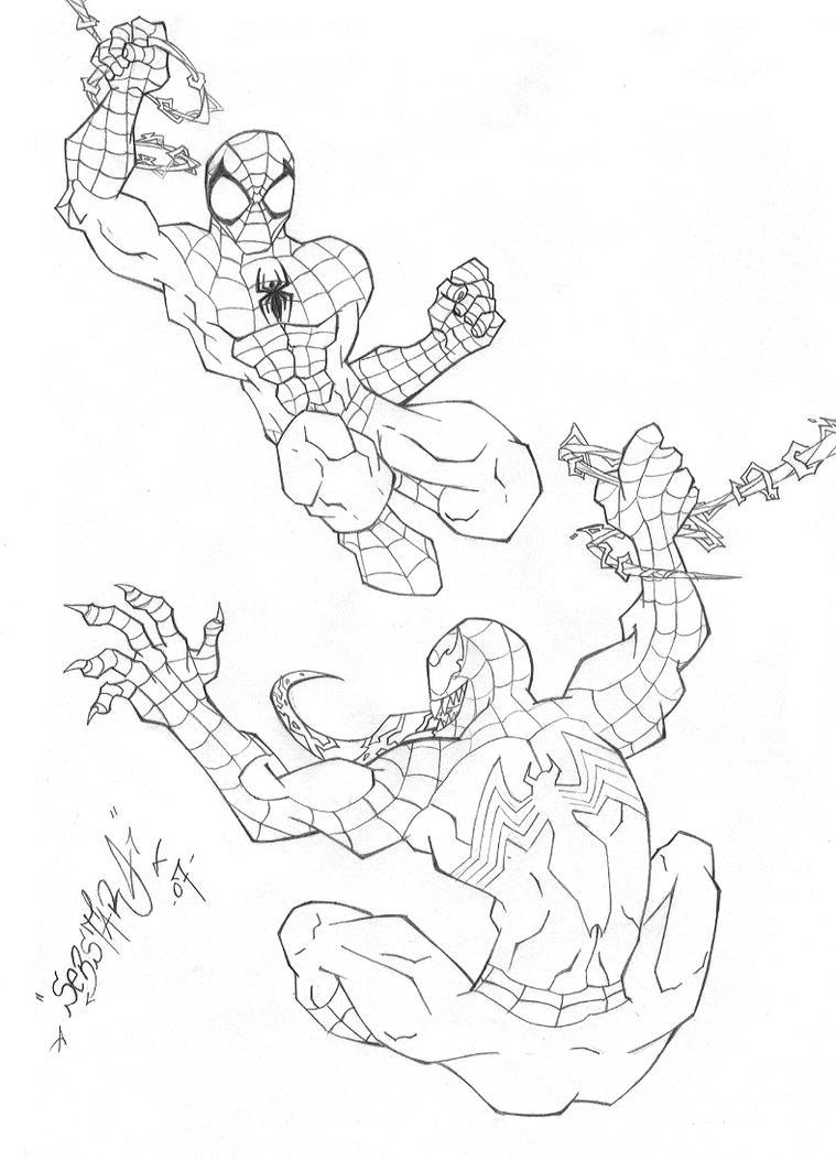 Perfecto Spiderman Vs Veneno Para Colorear Ilustración - Ideas ...