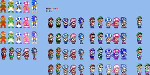 SMM2 Customs - Mario Luigi Toad, Toadette n' Sonic