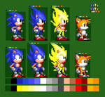 Remade Sonic 2 Sonic and Tails Idle Sprite v2 10x