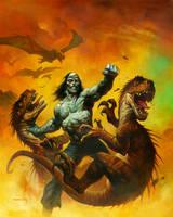 Frankenstein VS dinos by AlexHorley