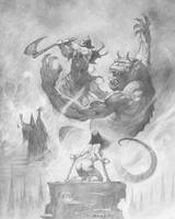 Death Dealer VS Demon by AlexHorley