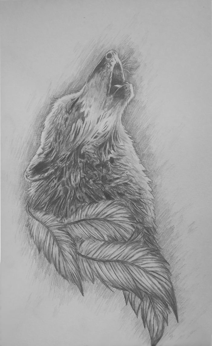 howling wolf tattoo design by thatrandomartist1010 on