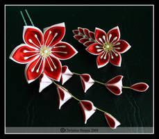 Passion Flower Pair by Kurokami-Kanzashi