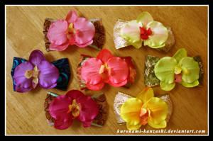Colourful Orchid Clips by Kurokami-Kanzashi