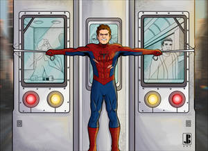 Spider-Man movie moment  train stop color