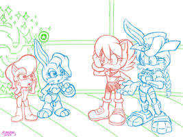 Sally and Bunnie Generations by LeatherRuffian