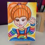 Rainbow Brite marker sketch card