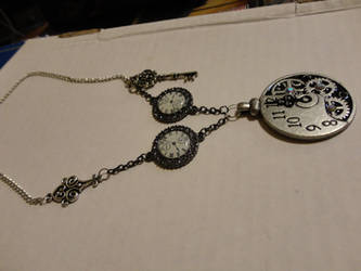 Steampunk silver necklace